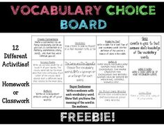 Free Vocabulary Choice Board to be used with any vocabulary list. There are 12 different activities included on the choice board.