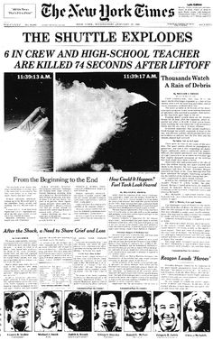 The Challenger space shuttle exploded on January 28, 1986