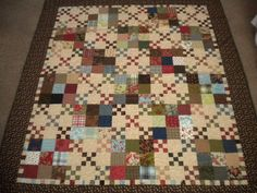 """Quilt Story: A Quilting life...the amazing 24 hour quilt! Use warm/woodsy fabric.  Kim Diehl - """"Garden Patch"""" from book: Simple Traditions 14 Quilts to Warm Your Home."""