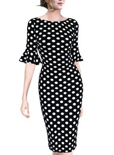 Dress for Women Elegant Plus Size Womens Vintage Fashion Printed Short Sleeve Polka Dot Fold Slim Fit Pencil Dresses