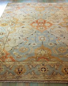"""""""Damask on Blue"""" Rug by Kalaty Rug Corporation at Horchow."""