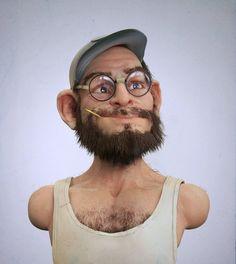 Old man ???, Andrey Gritsuk on ArtStation at https://www.artstation.com/artwork/old-man-turns