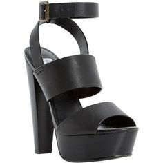 Steve Madden Dezzzy Leather Platform Sandals, Black (£31) ❤ liked on Polyvore featuring shoes, sandals, heels, black platform sandals, flat platform sandals, strappy heeled sandals, platform heel sandals and high heel shoes
