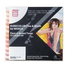 Zestaw Kurecolor Fine & Brush For Manga 12 Flesh & Neutral