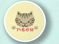Grey Kitten Goes Meow. Cat Cross Stitch Pattern PDF by andwabisabi
