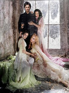 "Damon Vamp, Bonnie Witch, Elena Vamp (hopefully human again someday), Caroline Vamp. ""The Vampire Diaries"""