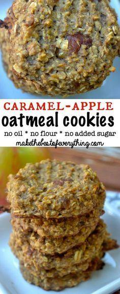 No Flour and No Sugar- Caramel-Apple Oatmeal Cookies