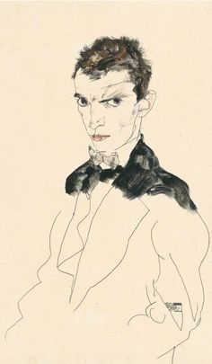 Egon Schiele, 1912, Selfportrait, gouache and pencil on paper. © Courtesy Neue Galerie New York