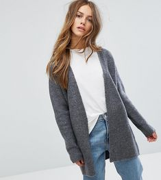 ASOS PETITE Chunky Midi Cardigan with Belt Detail - Gray