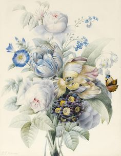 Still-life Painting - A Bunch Of Flowers by Pierre Joseph Redoute