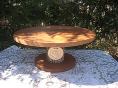 I WANT! Rustic Wedding Cake Stand Personalized by YourDivineAffair on Etsy, $53.95