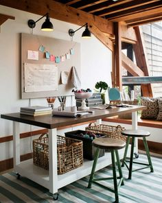 Love a craft table on wheels with storage below! Mill Valley Studio - eclectic - home office - san francisco - by Jute Interior Design