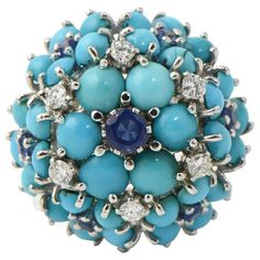 Mid 20th Century Sapphire, Turquoise and Diamond Gold Flower Dome Cocktail Ring 1