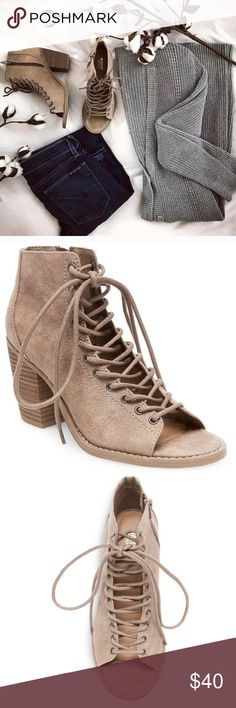 Taupe Lace Up Ankle Booties NWT. BRAND NEW Perfect Condition  Never worn, True to size. Convenient zipper. Super cute for any season Retails $41, plus tax Mossimo Supply Co. Shoes Ankle Boots & Booties