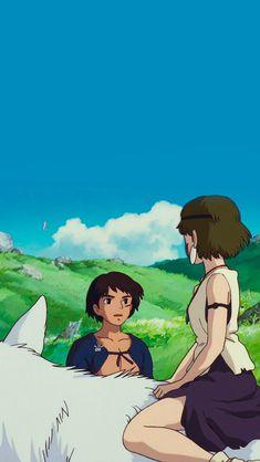 San and Ashitaka Mononoke Anime, Mononoke Cosplay, Totoro, Art Studio Ghibli, Studio Ghibli Movies, Hayao Miyazaki, Animes Wallpapers, Cute Wallpapers, Princess Mononoke Wallpaper