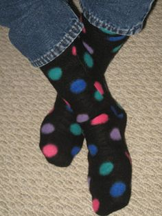Fleece Sock tutorial.  These look fun!  You could use a bit of fabric paint on the bottoms to help make them non-skid.