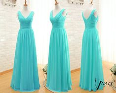Description Turquoise Prom Dress Custom Made Size Color Elegant Formal V Neck Spaghetti Strap Zipper Up Back Long Chiffon Turquoise Evening Dresses
