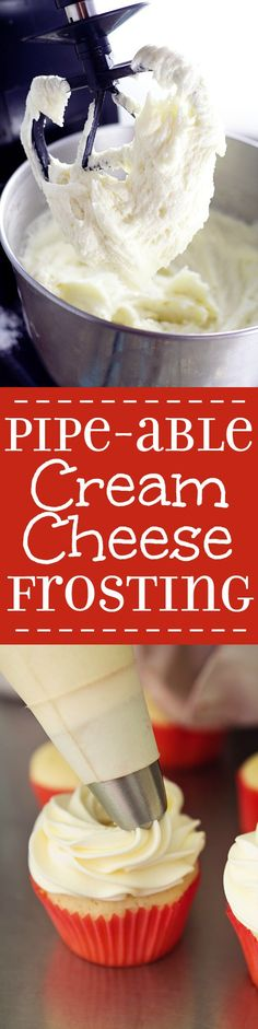 Pipeable Cream Cheese Frosting Recipe ~ The perfect Pipeable Cream Cheese Frosting for piping beautiful swirls onto cakes and cupcakes that's versatile and yummy enough for all of your favorite treats..; Easy to make too!