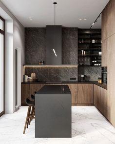 Grey Kitchen Designs, Kitchen Room Design, Modern Kitchen Design, Interior Design Kitchen, Kitchen Modular, Loft Kitchen, Wooden Kitchen, White Wood Kitchens, Small Apartment Design