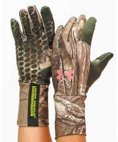 Under Armour Ladies Scent Control Camo Gloves - Outerwear - Women's