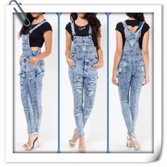 Two words: Sexy Swag! distressed acid washed denim overalls Size S-L only $40 plus free gift with Purchase while supplies last. Www.thefashionvaults.com/thefashionvaults