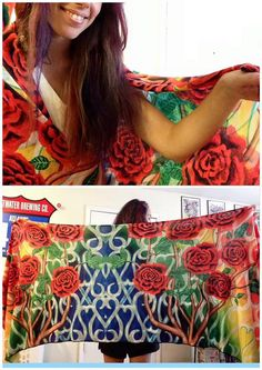 This sarong features J.VazzanosVisions original painting It Must Have Been The Roses. These amazing pieces of wearable art are made of knitted