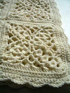 Cream victorian granny square crochet afghan