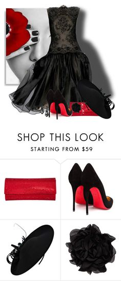 """""""Pop of Red"""" by cavell ❤ liked on Polyvore featuring Christian Louboutin, Tadashi Shoji, Judith Leiber, John Lewis and Lanvin"""
