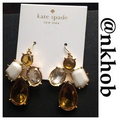 Kate Spade Earrings Beautiful Kate Spade earrings. Gold with yellow, white and clear stones. Fish hook. 1 1/2 inches long 1 inch wide. Comes with KS pouch NWT (A) kate spade Jewelry Earrings