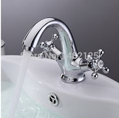 Best Find More Basin Faucets Information about Classic Brass Two Handles Basin Faucet in Chrome High