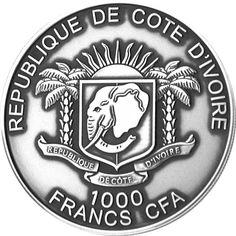 2013 Ivory Coast 1 oz 1k Francs silver coin - Black Panther (antique finish).