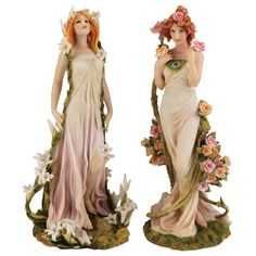 Set of 2: Art Nouveau Spring Flower Maidens Flowing Gowns 1898 Replica Statues