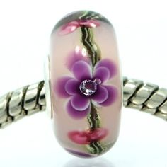 Purple Floral Lampwork Glass Bead Charm w/ White Stones, Sterling Silver Core, fits Troll, Chamilia Bracelets Pandora Beads, Pandora Bracelet Charms, Pandora Jewelry, Glass Jewelry, Jewelry Box, Jewlery, Murano Glass Beads, Love Charms, How To Make Beads