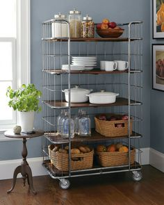 Terrific Finds for Small Apartments. Love this rolling baker's rack. Kitchen Shelves, Kitchen Storage, Kitchen Dining, Kitchen Decor, Kitchen Ideas, Kitchen Pantries, Storage Canisters, Kitchen Rack, Kitchen Corner