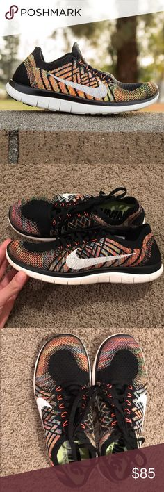 Only worn twice 4.0 fly knit nikes These nikes have only been worn twice and are in like new condition! They have no holes, no marks on the toe, and barely any dirt on the soles. They're originally $120. These are a size 8 men's which is a size 9.5-10 in women's and they are unisex. Great buy! Nike Shoes Athletic Shoes