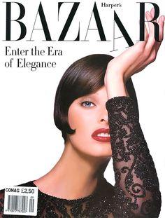 Linda Evangelista's beauty + Patrick Demarchelier's talent  + Liz Tilberis' genius = the best era of Harper's Bazaar in my lifetime. The whole magazine was exquisite.   First cover after relaunch.