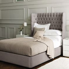 divine bed from the White Company - deep tufted and so stylish!... I want to make THIS. King size. Ahhh love.