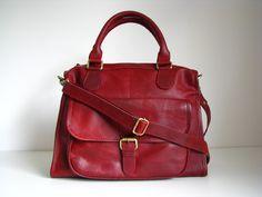 Leder Handtasche Handtasche Tasche Bag Vintage-Look rot