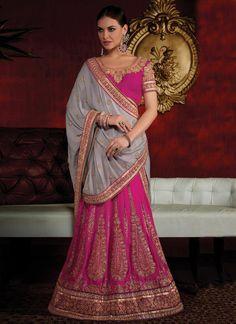 Girlish Hot Pink Lehenga Saree