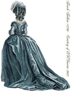 "1780 ""Robe à l'Anglaise"" style fashion plate.  PNG in various colors by EKDuncan - http://www.ekduncan.com/2012/04/1780-1782-french-fashion-plates.html"