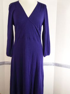 Boden Dress size 14R Wrap Style Purple Cotton Silk Cashmere Viscose Blend  #Boden #SweaterDress #Casual