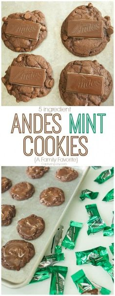 Homemade chocolate cookies made with Andes Mint Chocolates!  So easy to make and a recipe your family will beg for over and over!