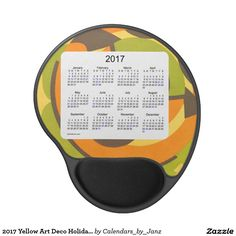 2017 Yellow Art Deco Holiday Calendar by Janz Gel Mouse Pad