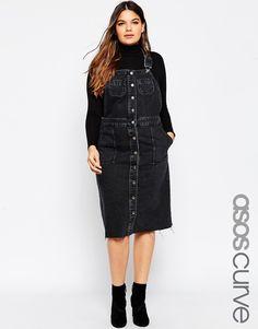 Image 1 of ASOS CURVE Midi Denim Pinafore Dress with Raw Hem in Washed Black