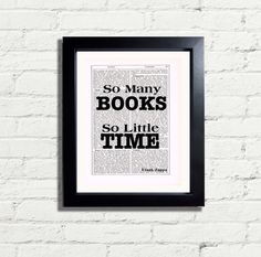 Inspirational Quote So Many Books So Little by VintageNBeautiful