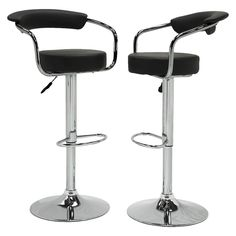 Jonisk Adjustable Height Barstool - Black (Set of 2)