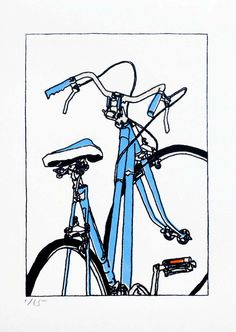 This new print is an edition of 15.    Its a two screen print,  based on this painting of my friend and neighbor Jeanines bike.