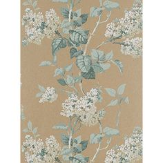Lilac Blossom Wallpaper A stunning bronze wallpaper with a trailing lilac blossom design in aqua and white Bronze Wallpaper, Green Wallpaper, Flower Wallpaper, Wall Wallpaper, Pattern Wallpaper, Wallpaper Ideas, Floral Print Design, Bird Design, Lilac Blossom