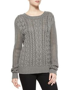 Cable-Knit Pullover Sweater, Charcoal by FRAME at Neiman Marcus.