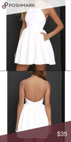 Lulus Open Back White Dress Backless short evening dress. Never worn NWT Lulu… Lulus Open Back White Dress Backless short evening dress. Never worn NWT Lulu dresses backless Junior Prom Dresses, Hoco Dresses, Prom Dresses For Sale, Trendy Dresses, Elegant Dresses, Homecoming Dresses, Cute Dresses, Evening Dresses, Casual Dresses